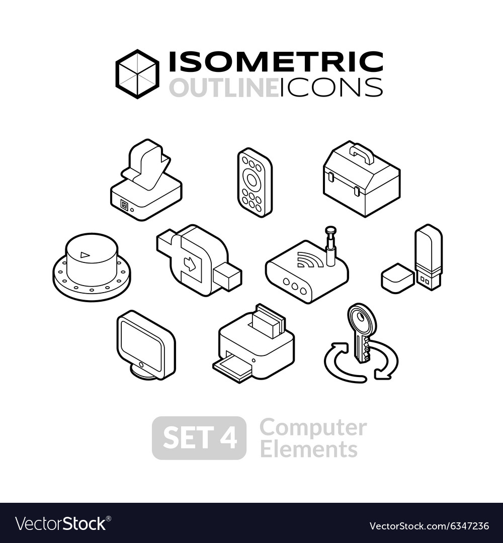 Isometric outline icons set 4 vector