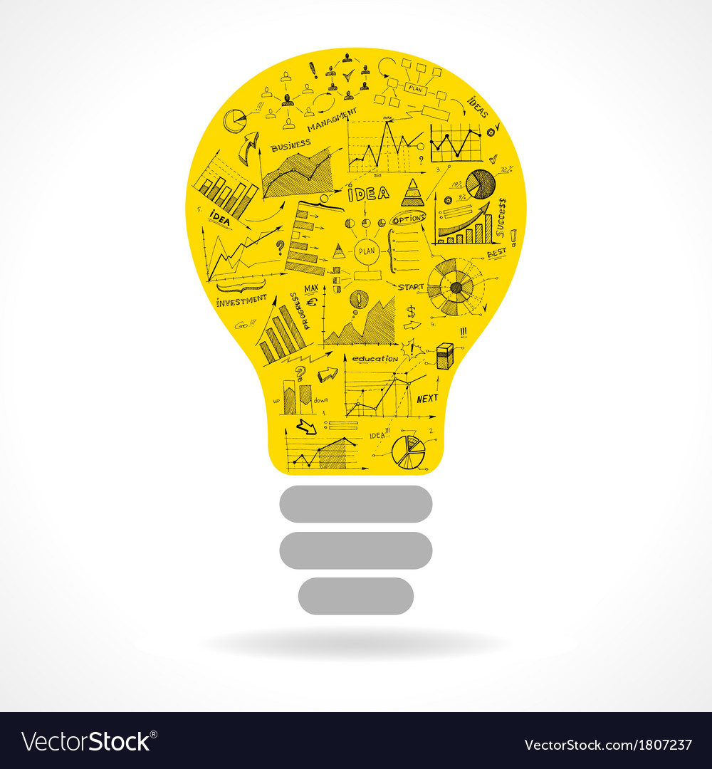 Doodle idea lightbulb icon with infographics vector