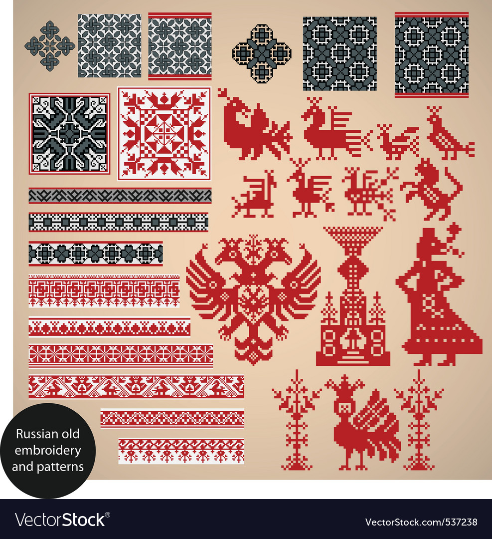 Russian old embroidery vector