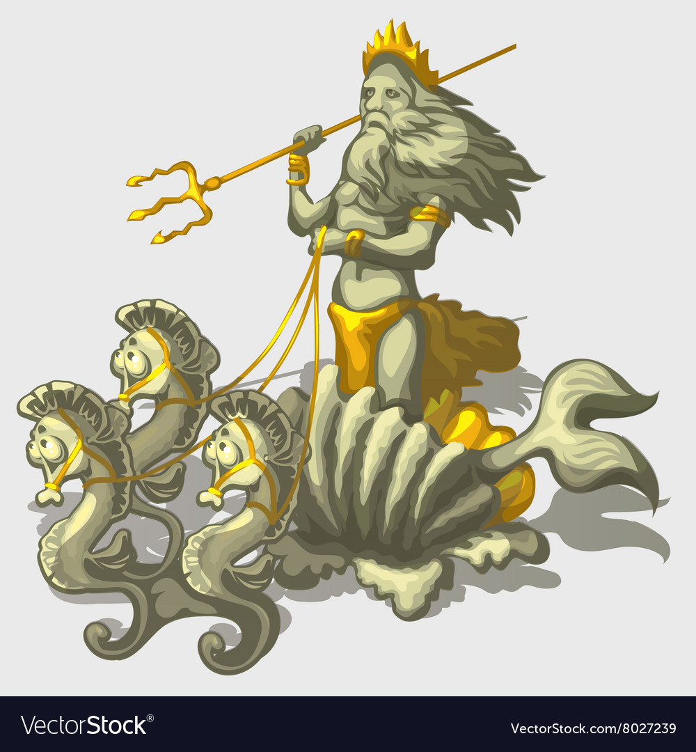 Character triton with sea horse stylish vector