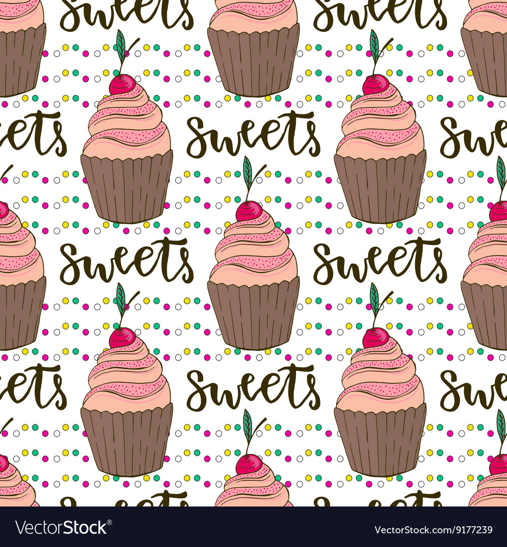 Cupcakes seamless pattern doodle vector
