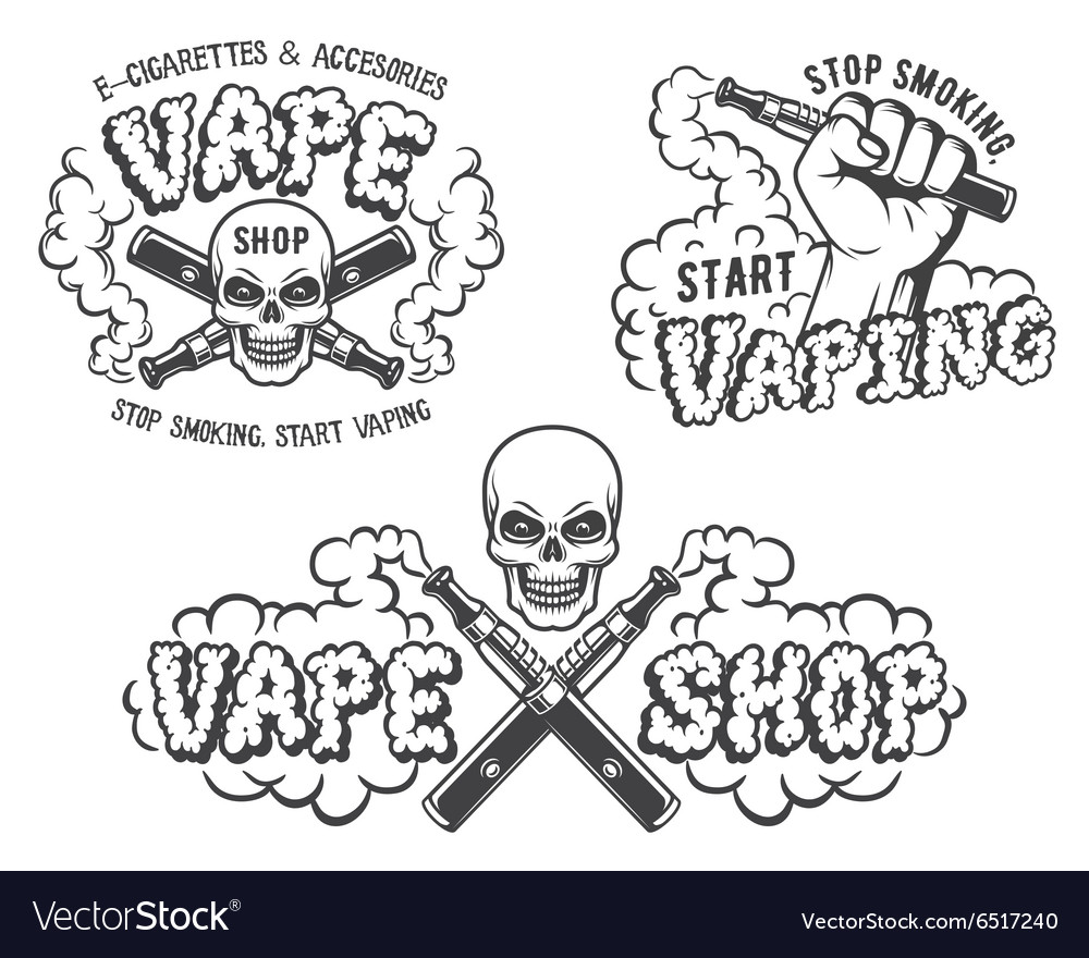 Set of vape ecigarette emblems vector