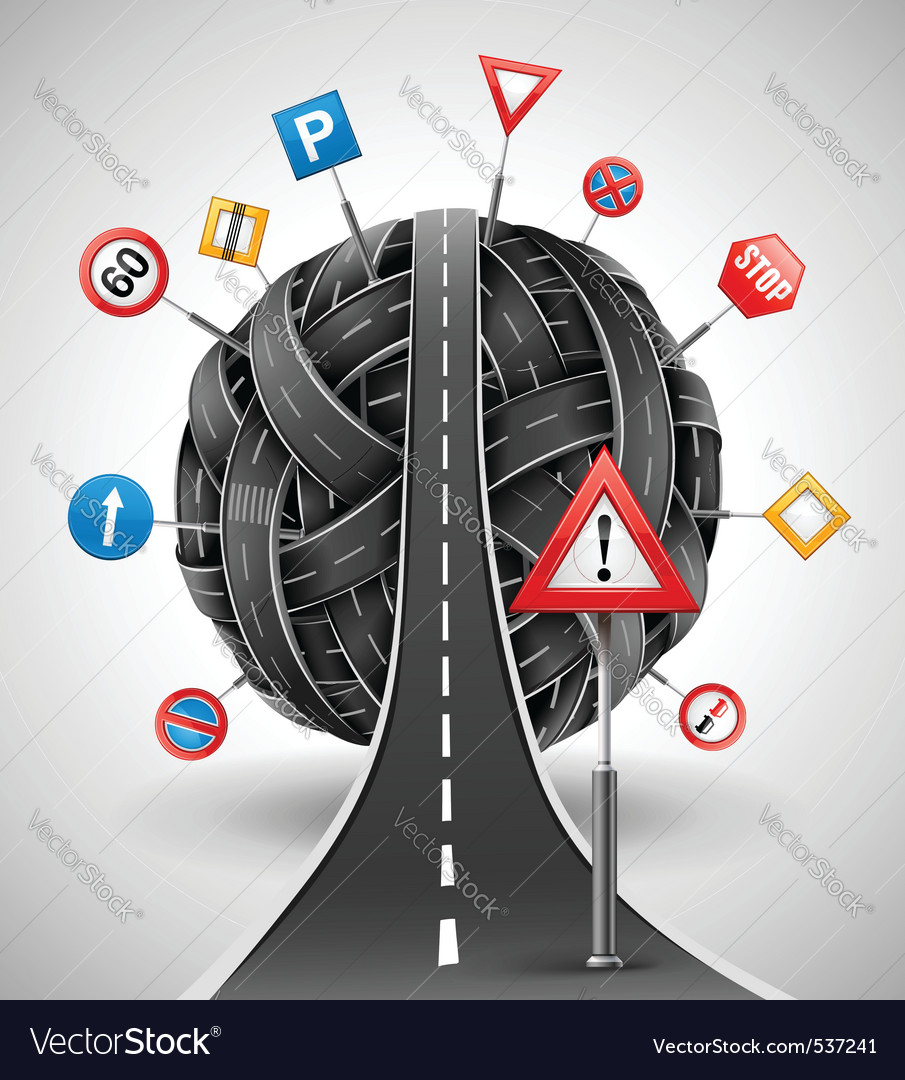Tangle of roads with signs vector