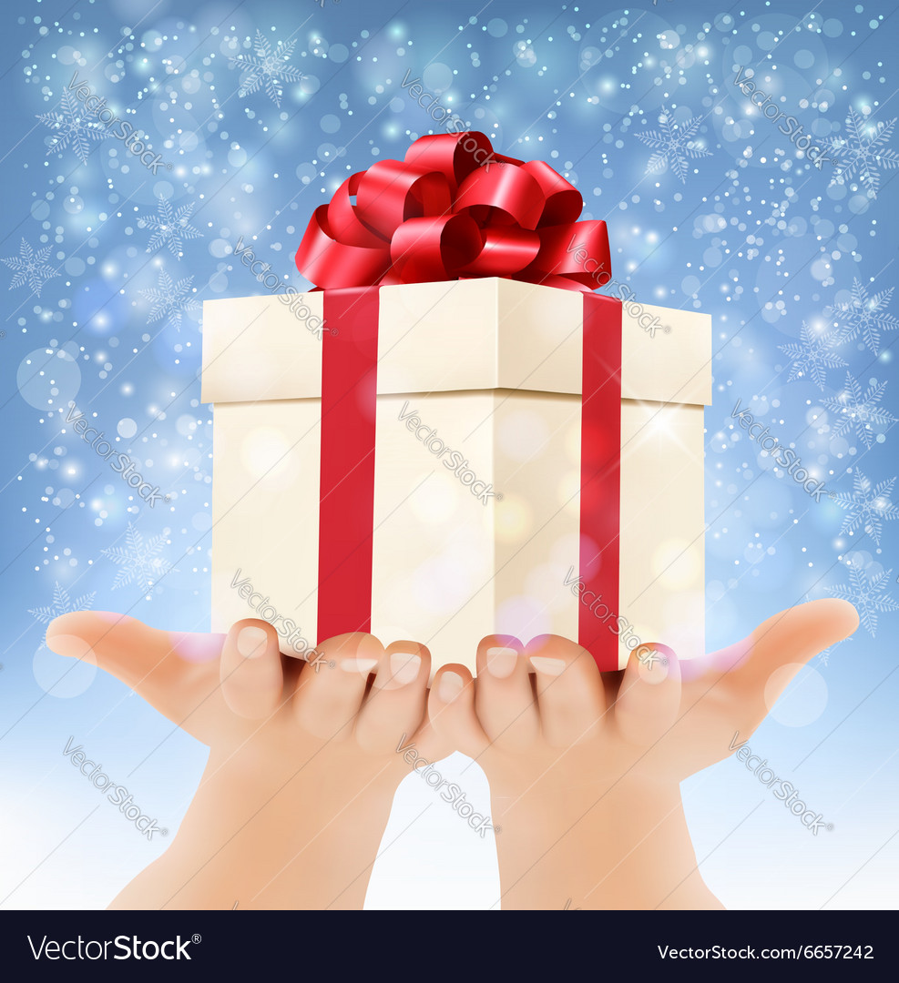 Holiday christmas background with hands holding vector