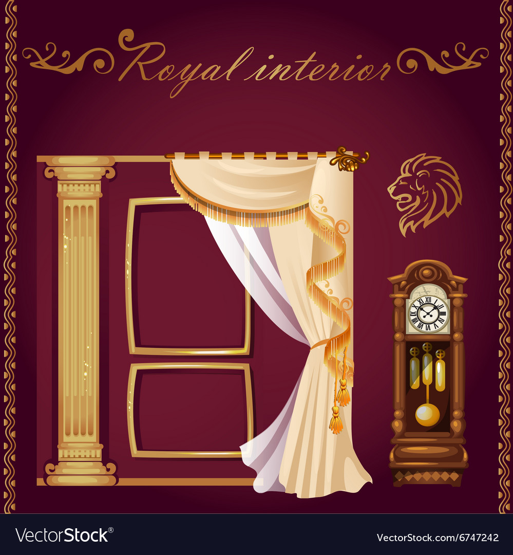 Set of columns curtains and old grandfather clock vector