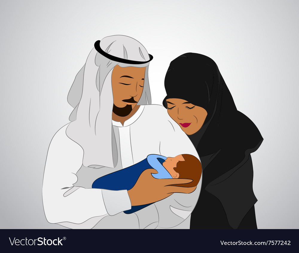 Traditional muslim family vector