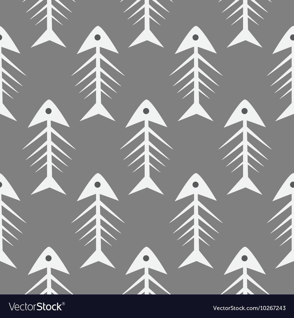 Fishbone monochrome seamless pattern vector