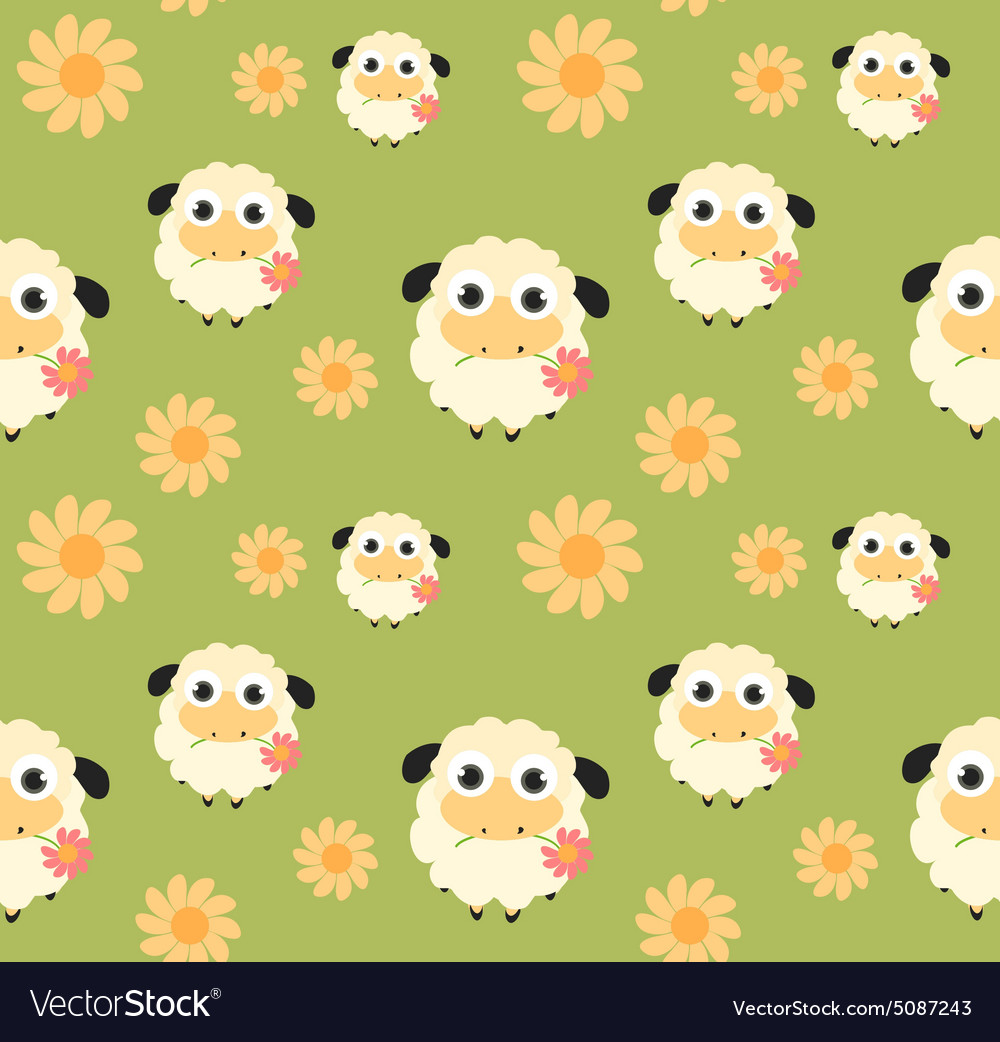 Seamless pattern with flat sheep vector