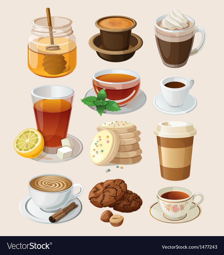 Set for coffee break or tea time vector