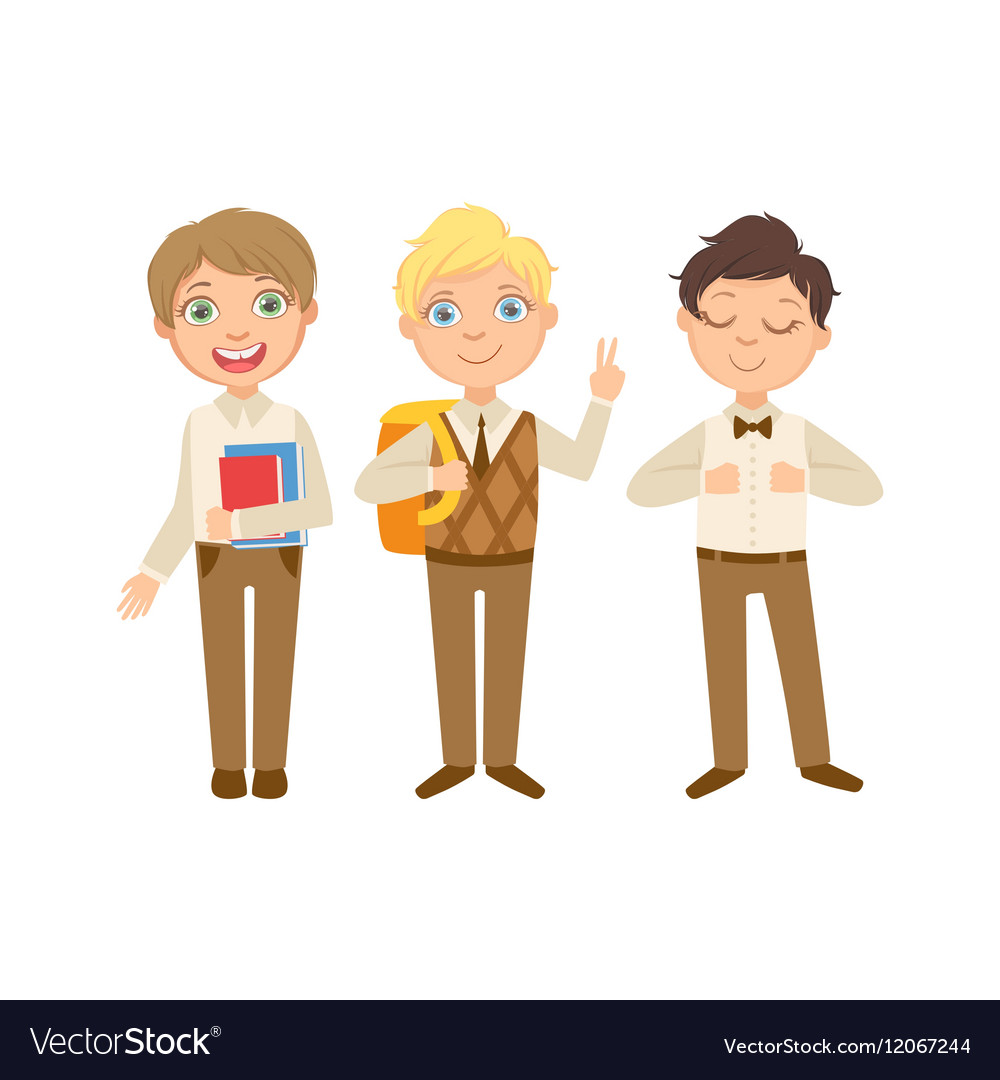 Boys in brown outfits happy schoolkids in similar vector