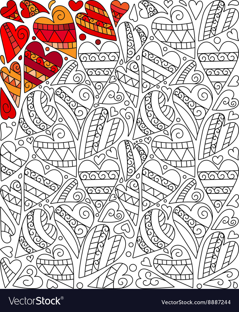 Hand drawn hearts coloring page doodle vector