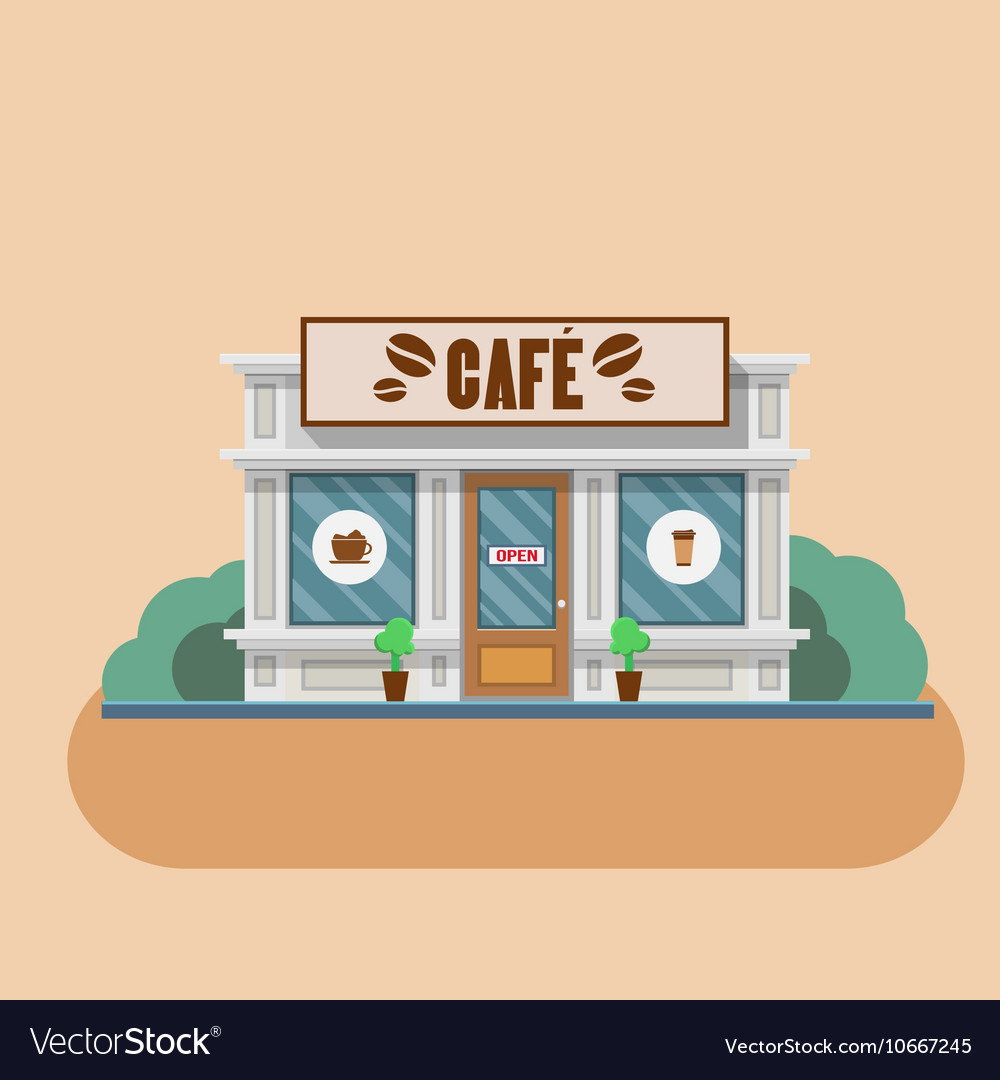 Cafe building flat vector