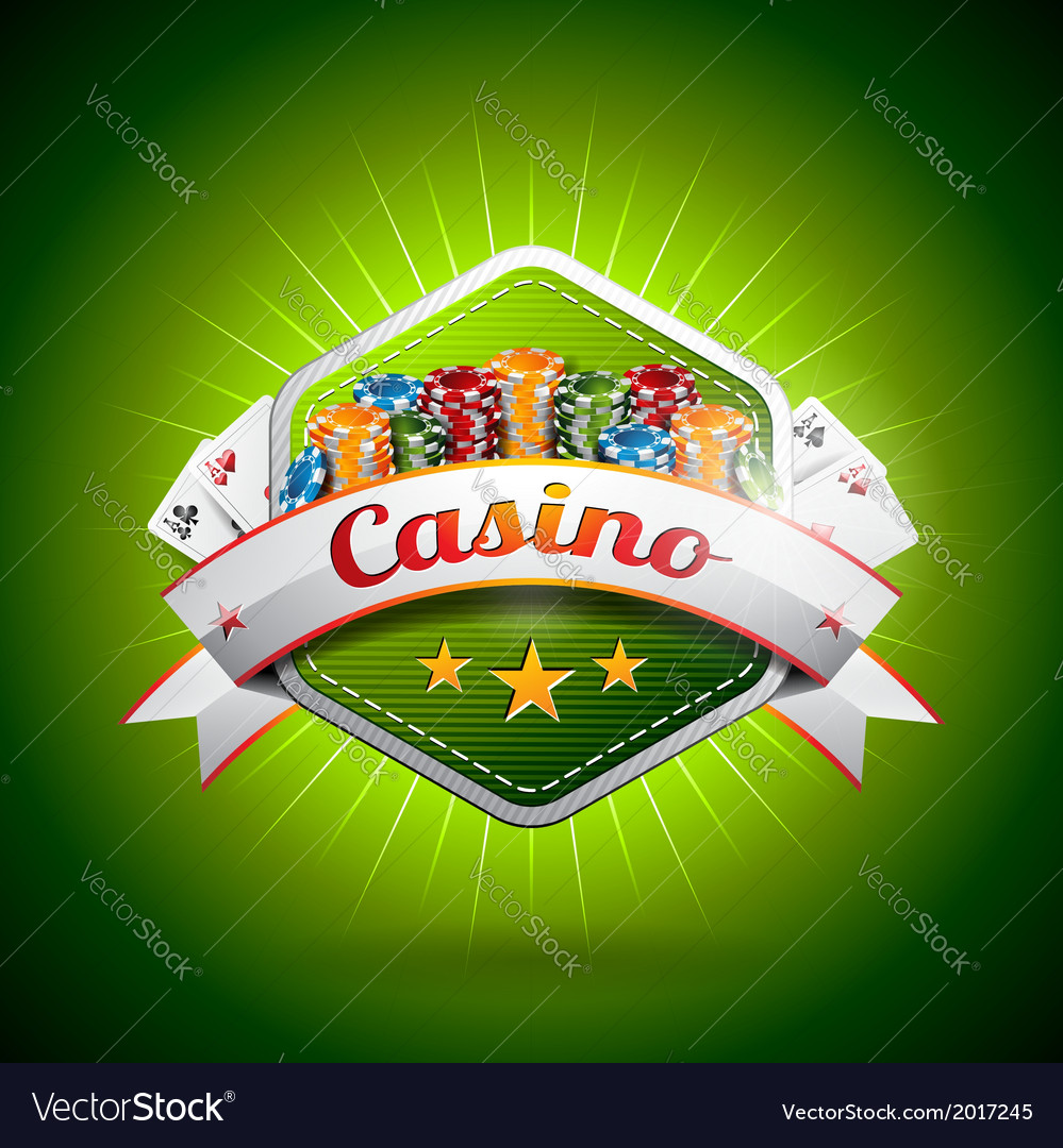 Casino with poker card and and chips vector