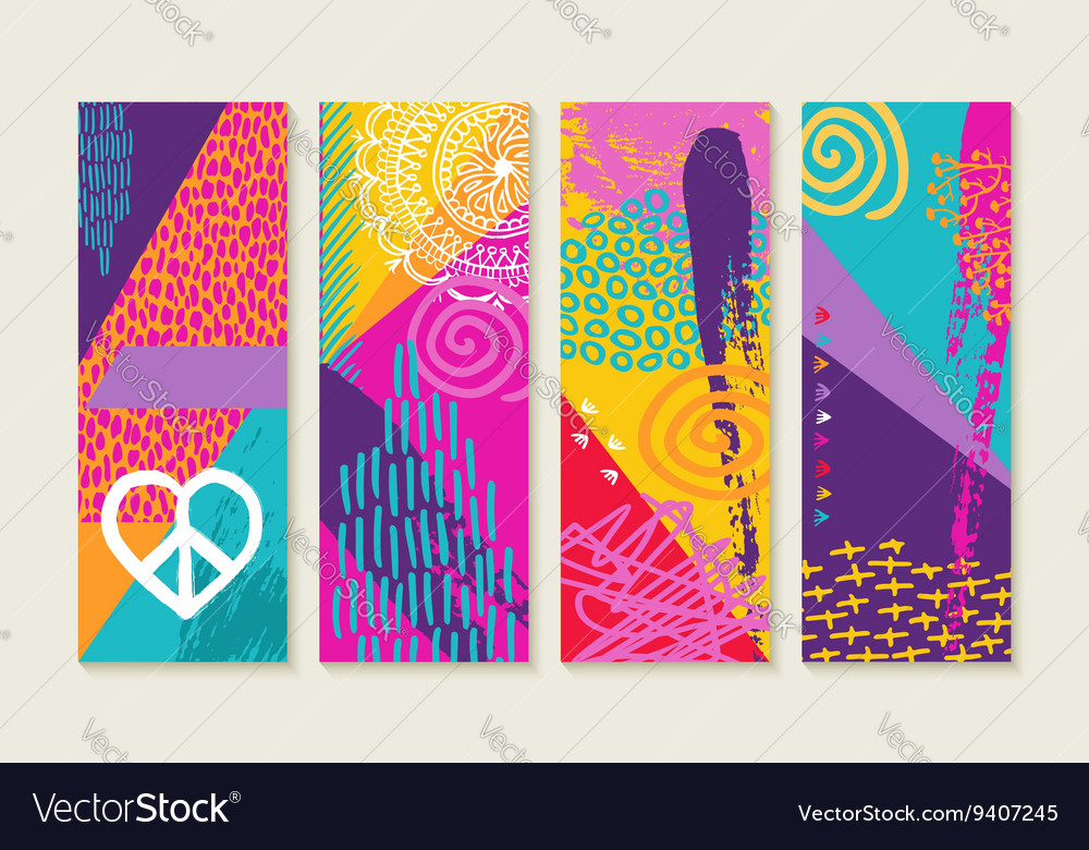 Color summer set design with nature art elements vector