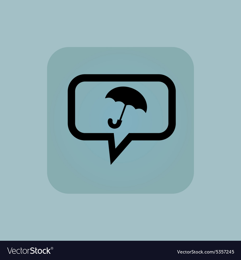Pale blue umbrella message icon vector