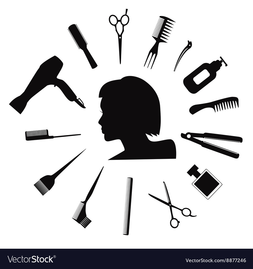 Hairdressing equipment icons vector