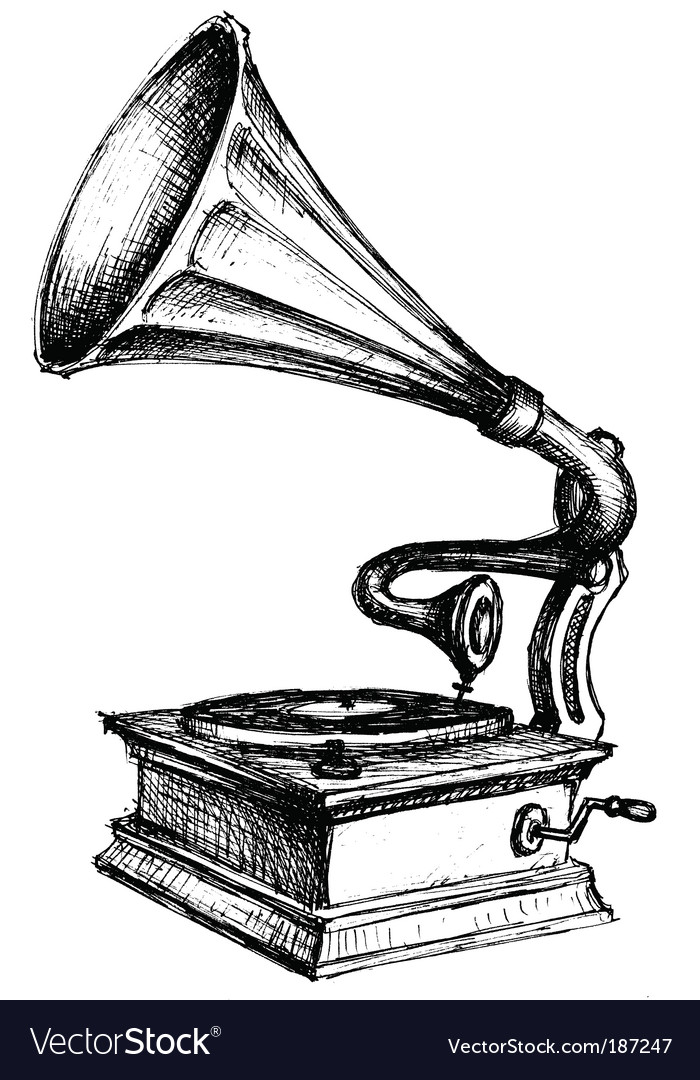 Gramophone sketch vector