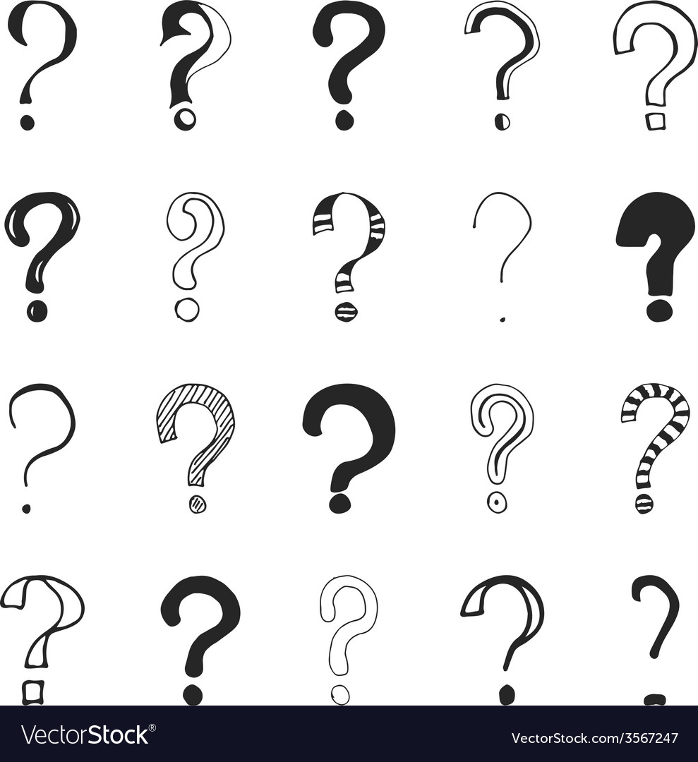 Question marks  hand drawn vector