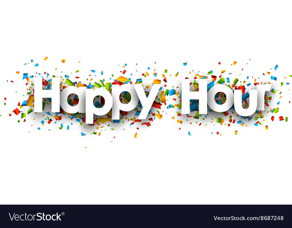 Happy hour paper banner vector