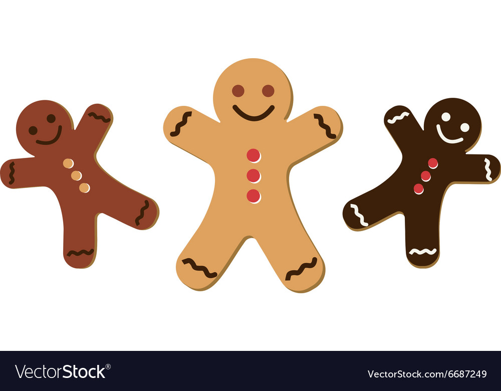 Gingerbread man icon set on vector