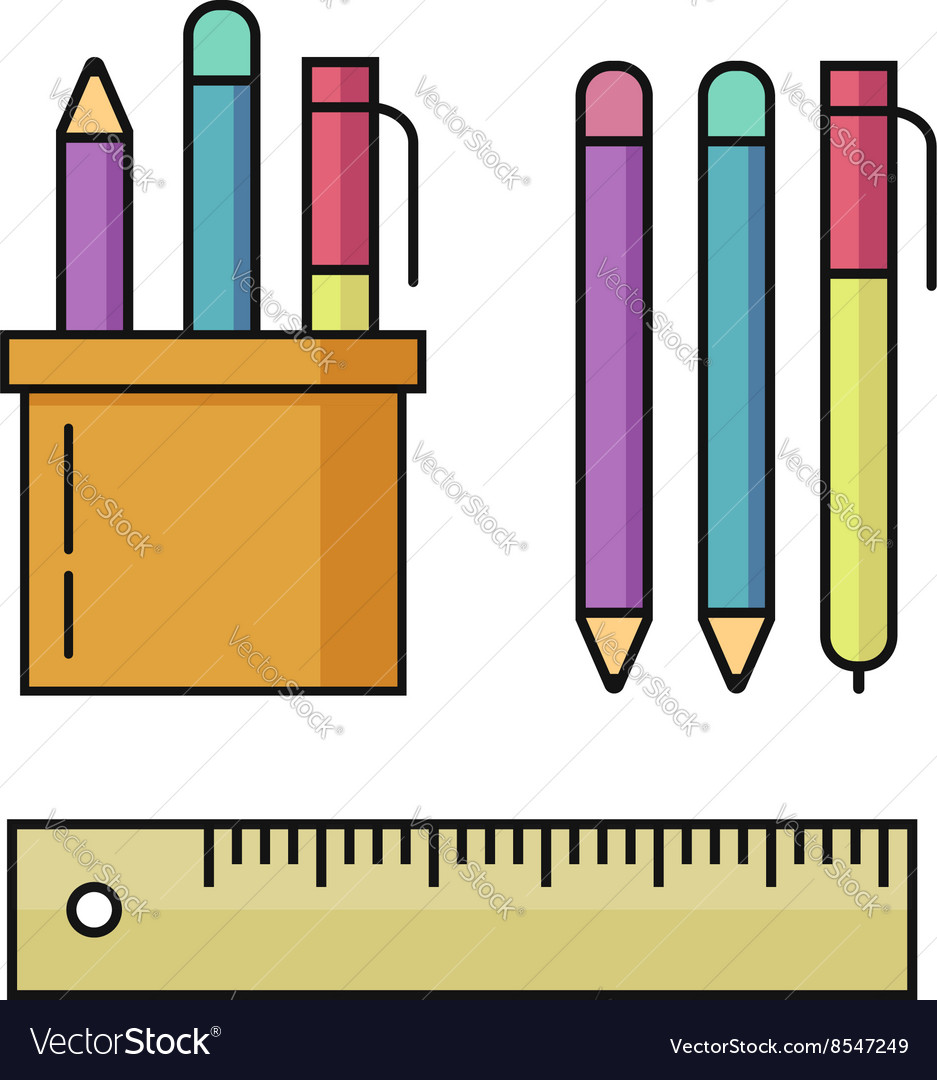 Pen and pencils ruler set vector