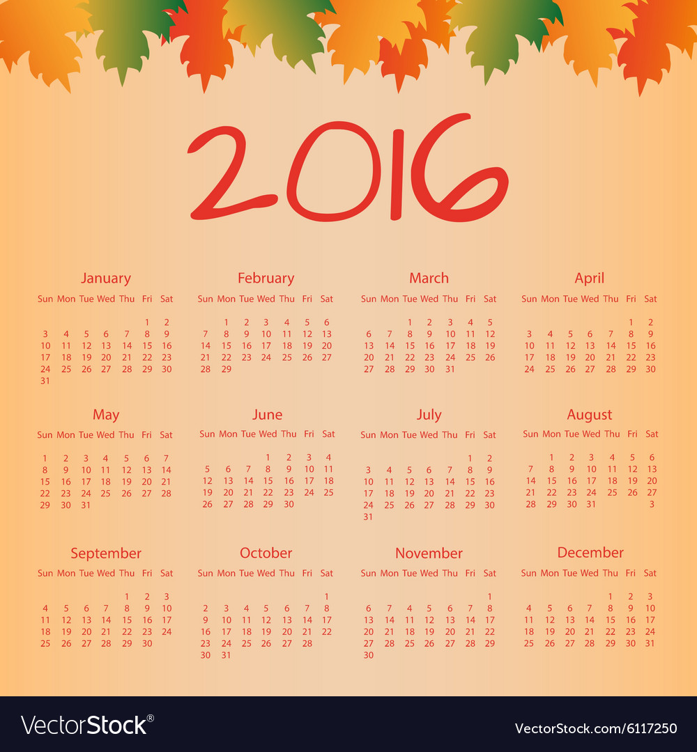Calendar 2016 with colorful leaves vector