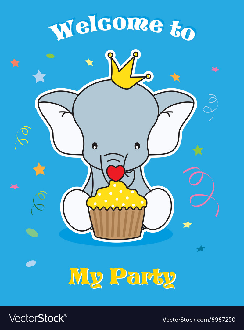 Elephant with cupcake vector