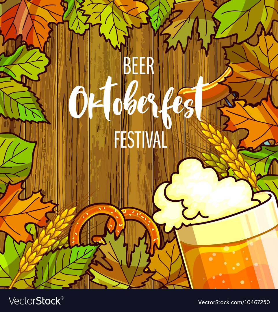Octoberfest festival cartoon design with glass of vector