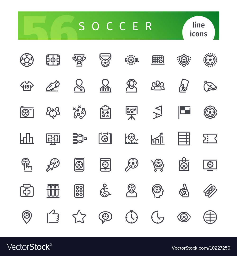 Soccer line icons set vector