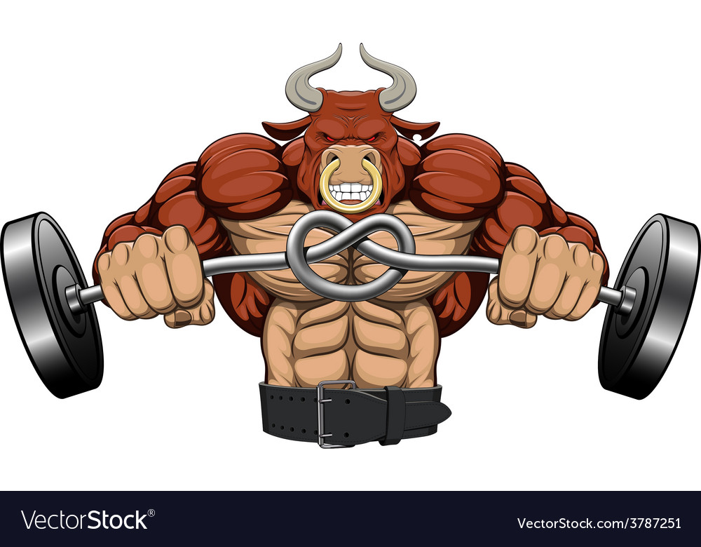 A strong angry bull vector