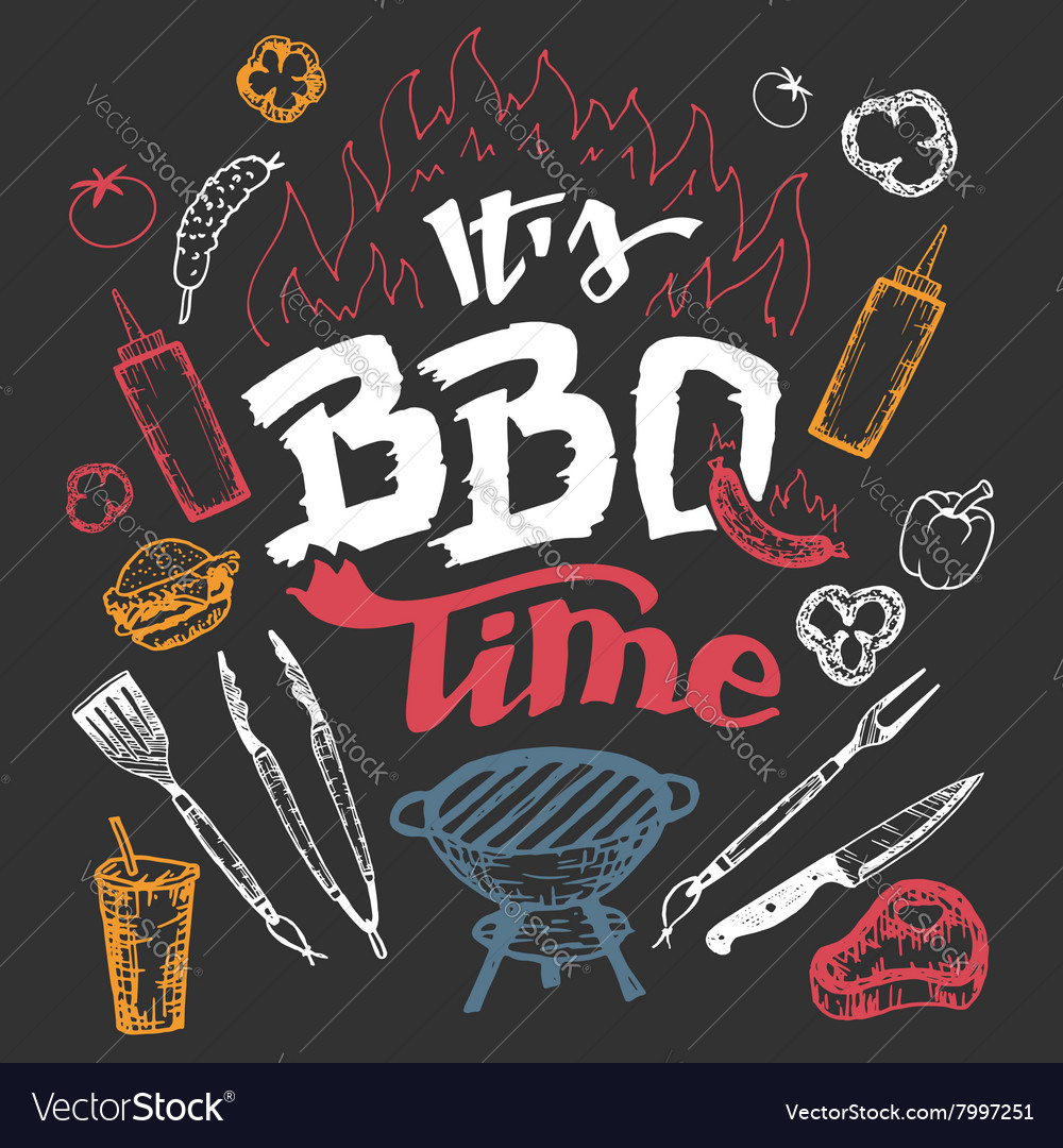 It is barbecue time hand drawn elements set vector