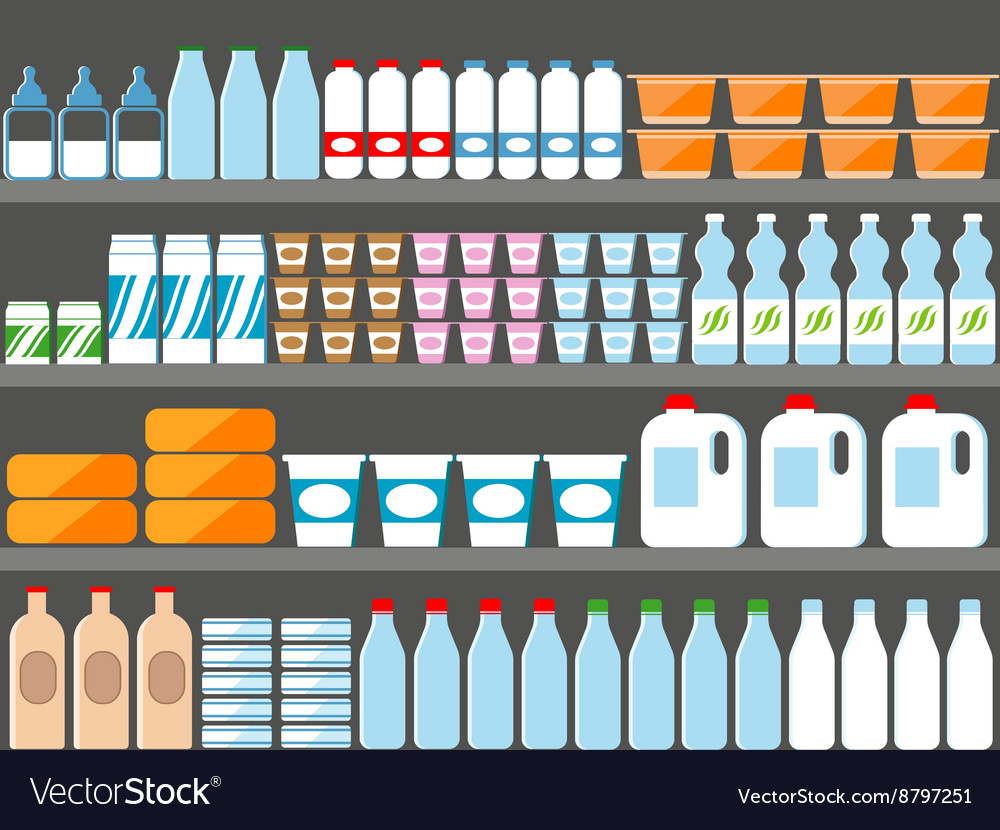 Store shelves with milk and dairy products vector