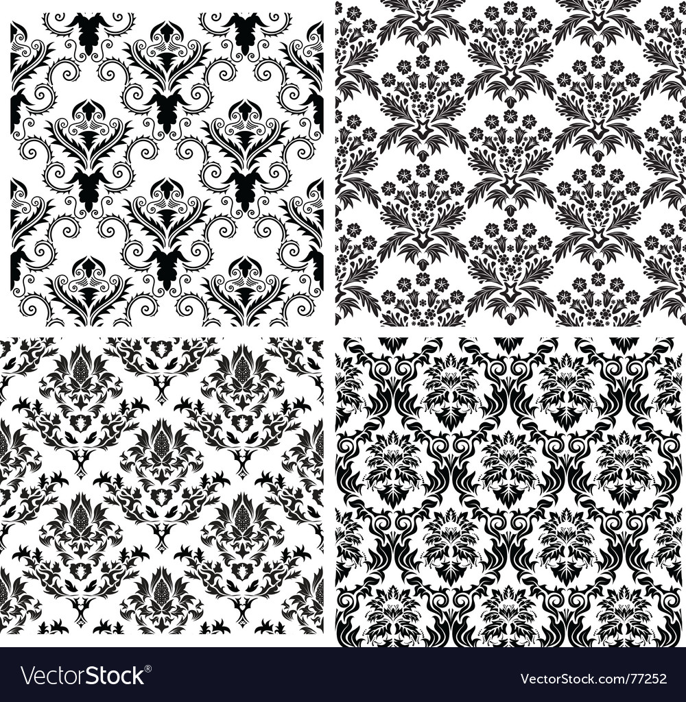 Damask backgrounds set vector