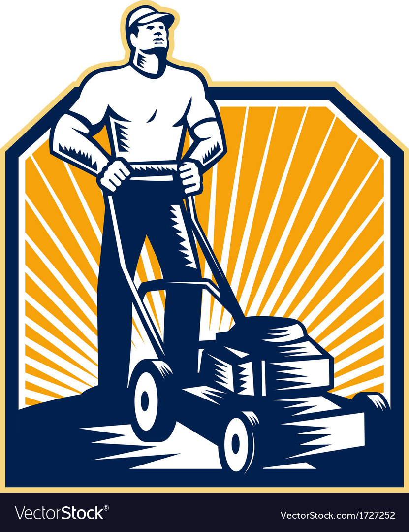 Gardener mowing lawn mower retro vector