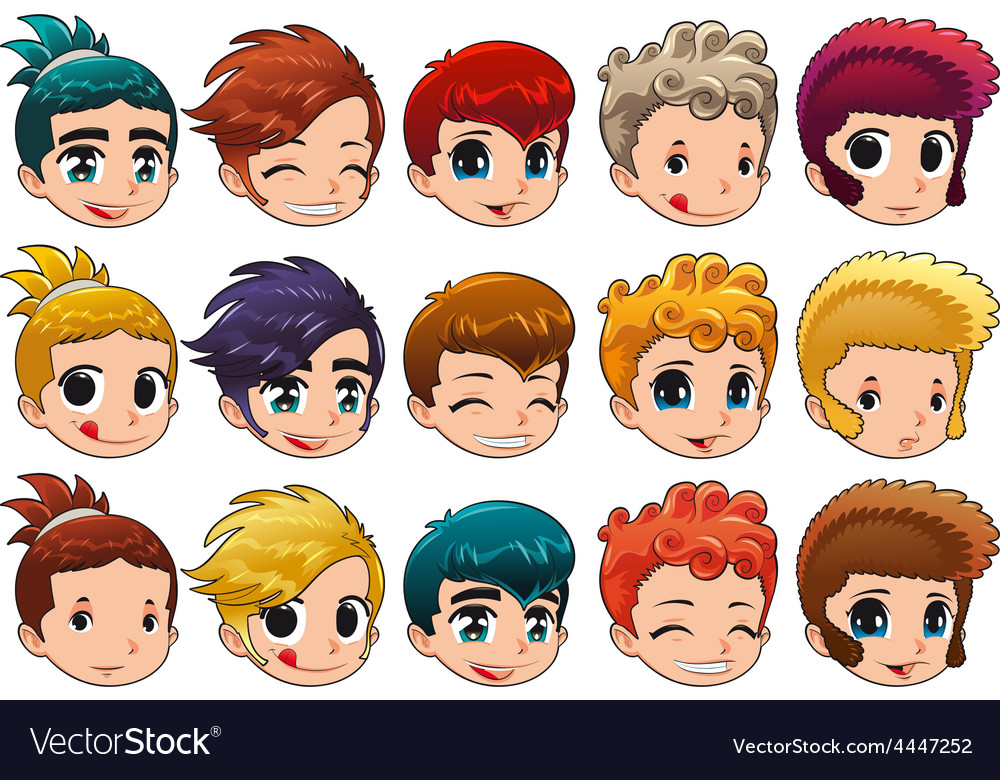 Group of faces with different expressions and hair vector