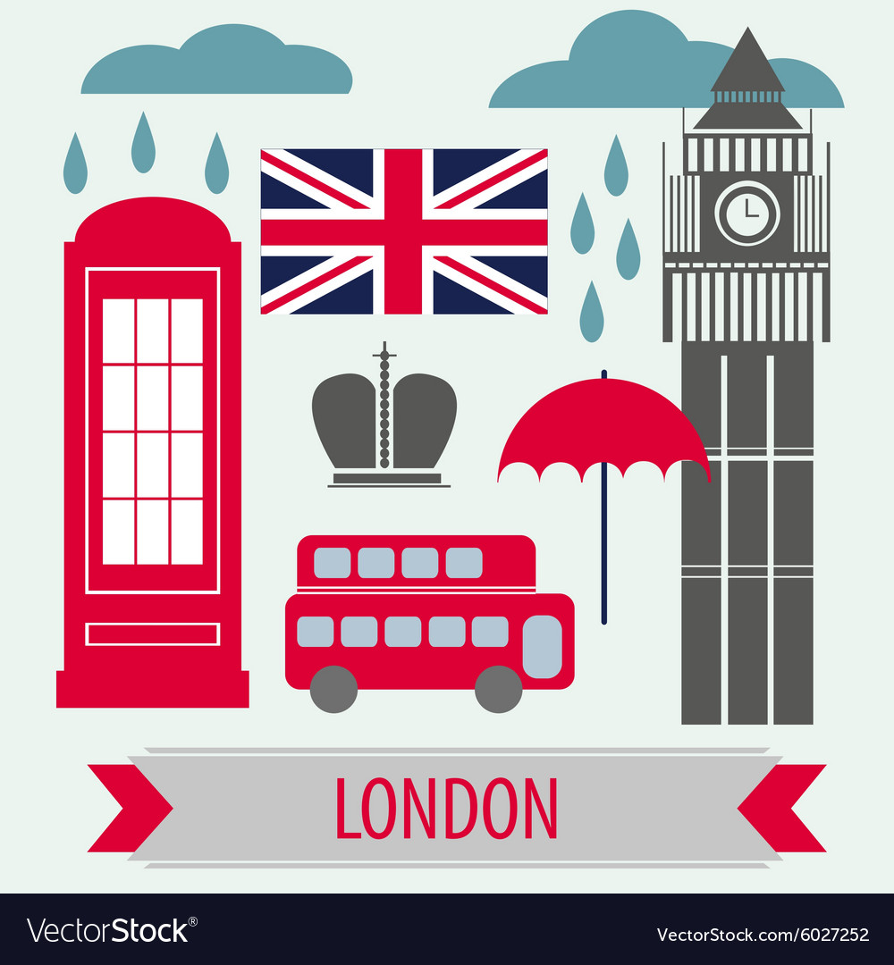 Poster with london symbols and landmarks vector