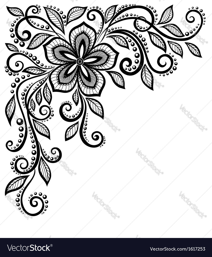 Blackandwhite lace flower in the corner vector