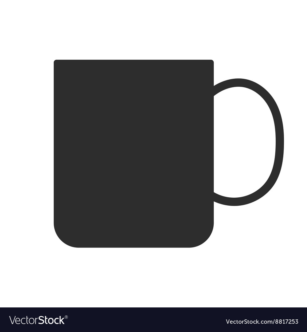 Coffee tea cup mug for drinks black silhouette vector