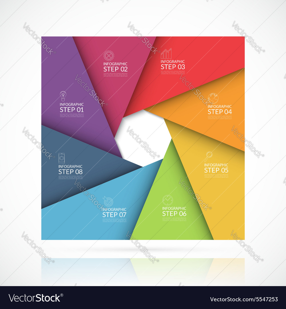 Square infographic template 8 steps vector