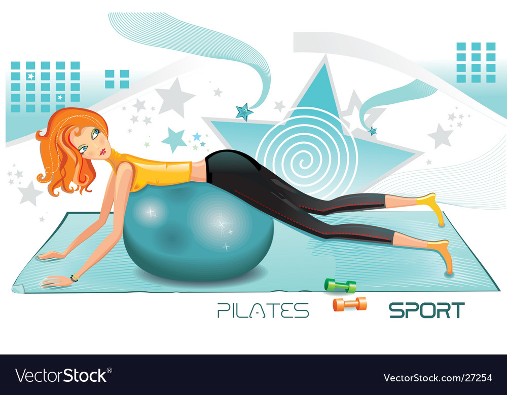 Pilates fitness icon vector