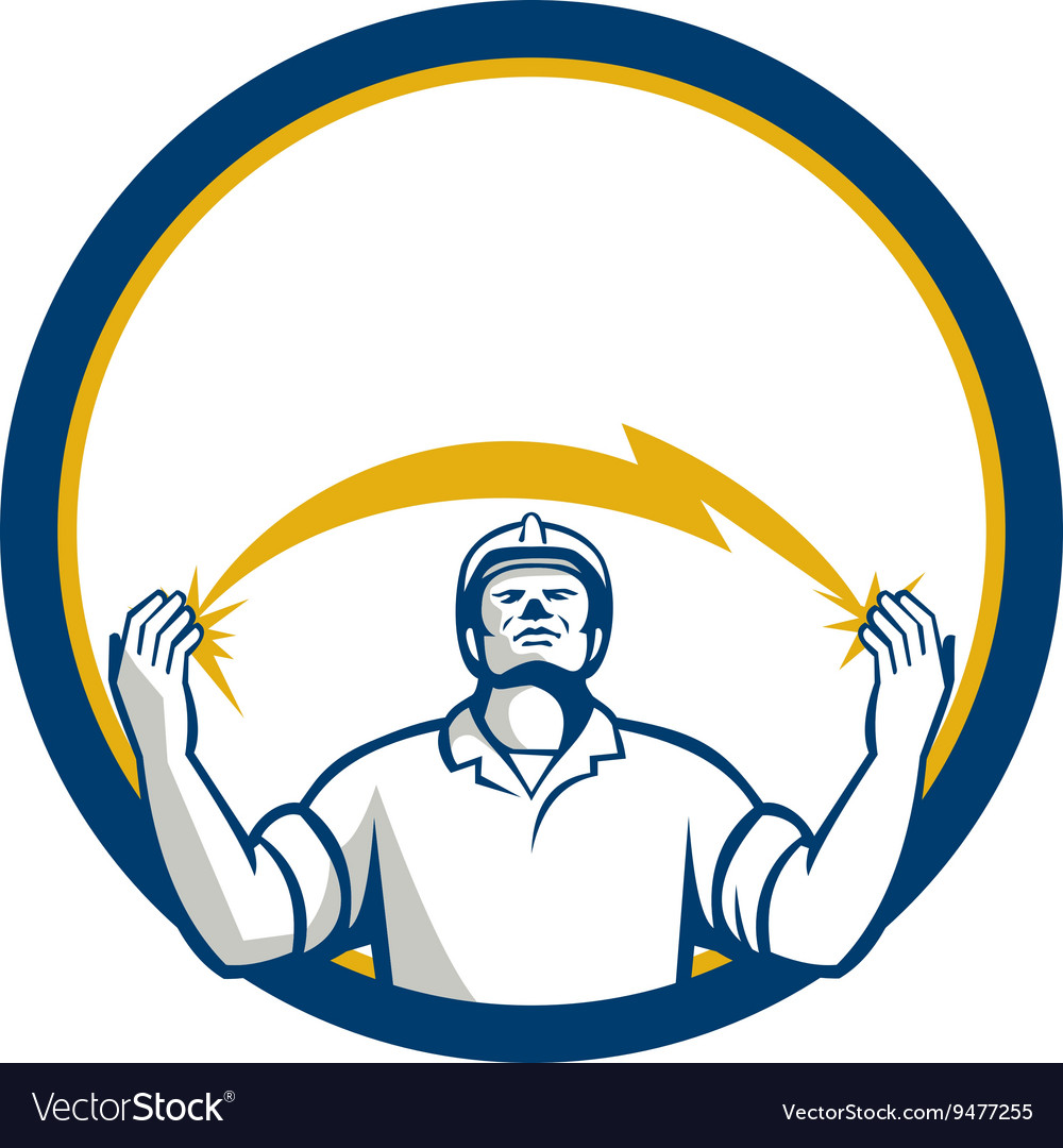 Electrician lightning bolt hands circle retro vector