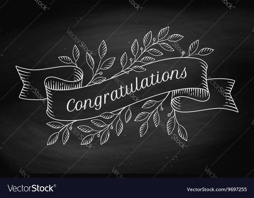Greeting card with inscription congratulations in vector