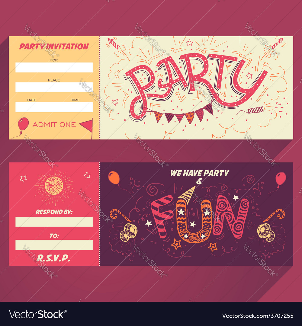 Party handlettering invitation ticket vector