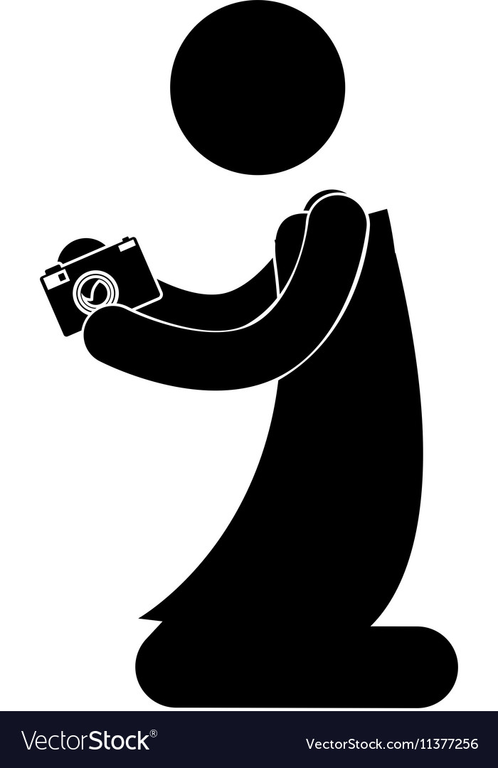 Black silhouette person kneeling with camera vector