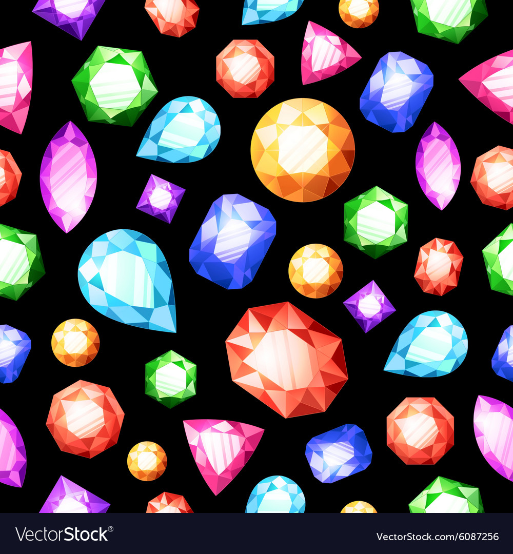 Gemstones seamless pattern vector