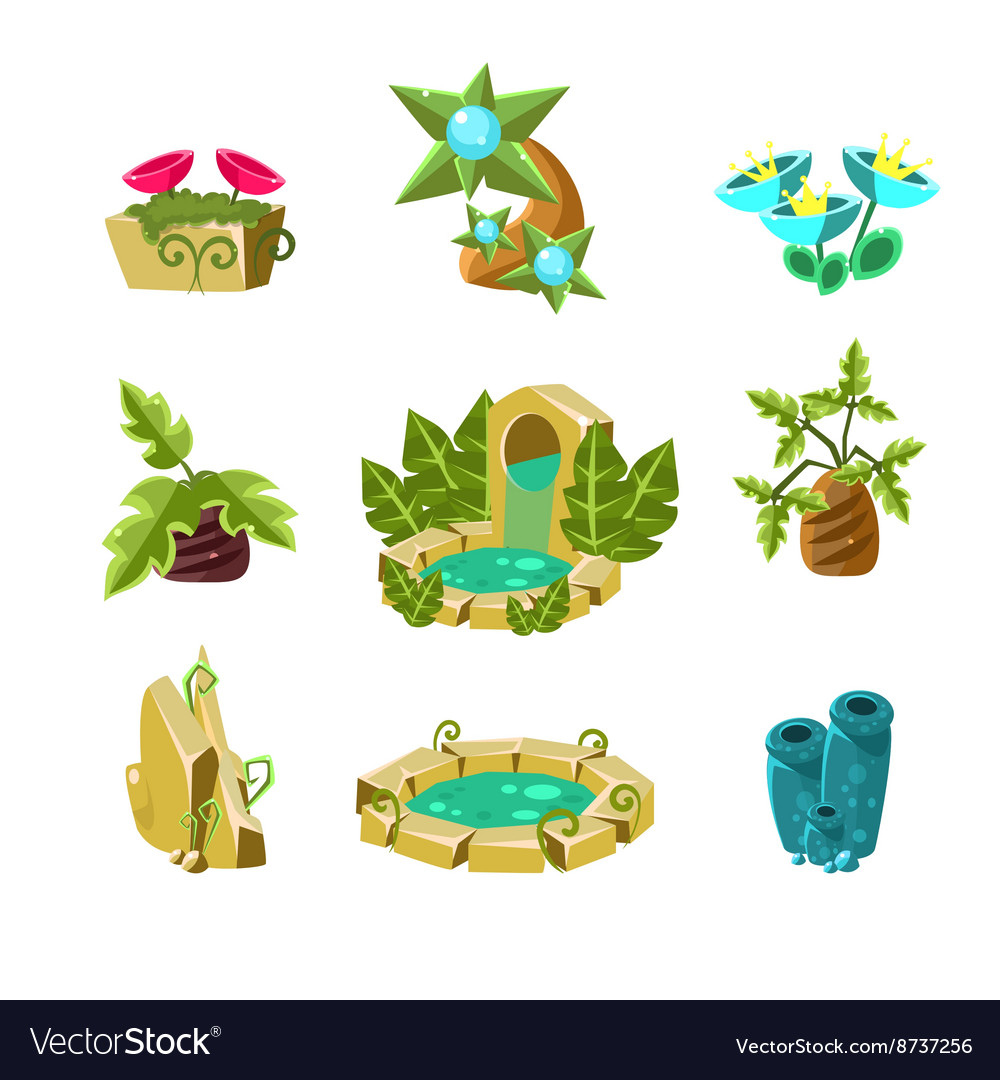 Landscape elements collection vector