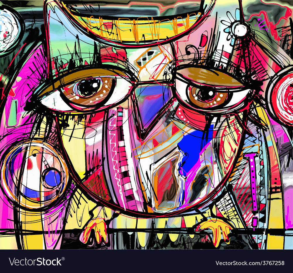 Abstract digital painting artwork of doodle owl vector