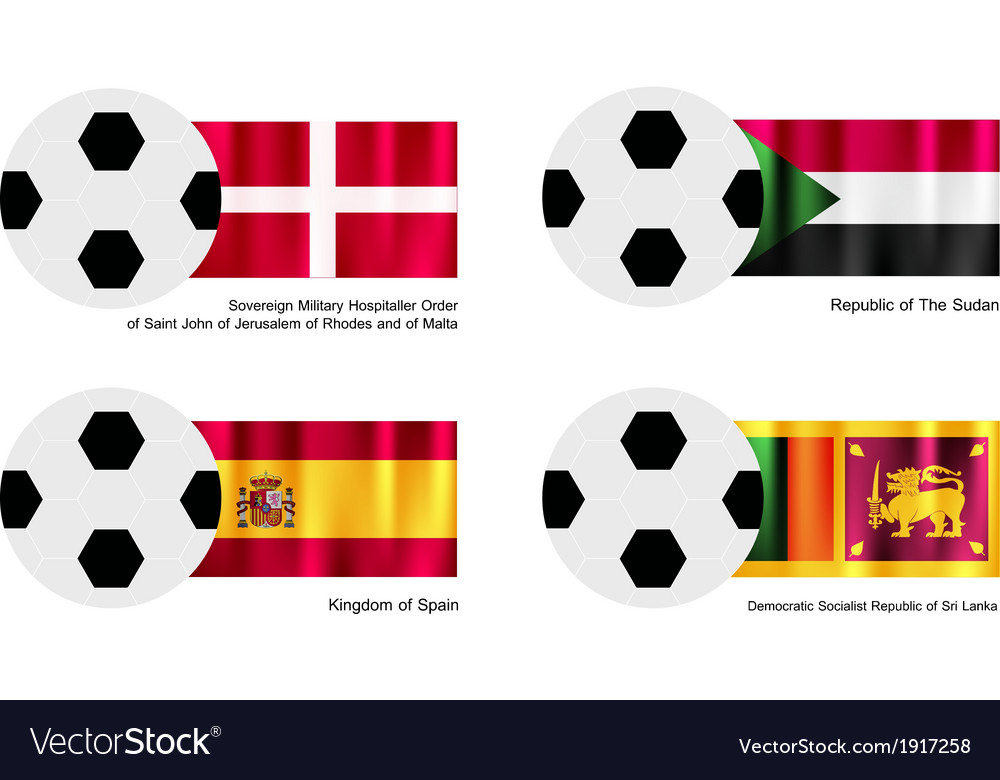 Soccer ball of malta sudan spain and sri lanka vector