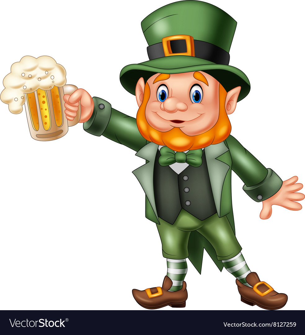 Cartoon st patricks day leprechaun with mug beer vector