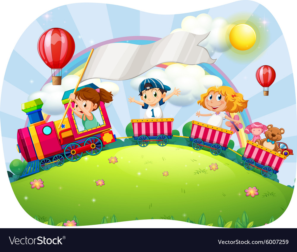 Children riding on train at daytime vector